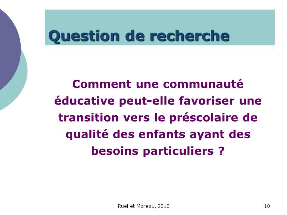 Ruel et Moreau, 201010 Question de recherche Comment une communauté éducative peut-elle favoriser une transition vers le préscolaire de qualité des en