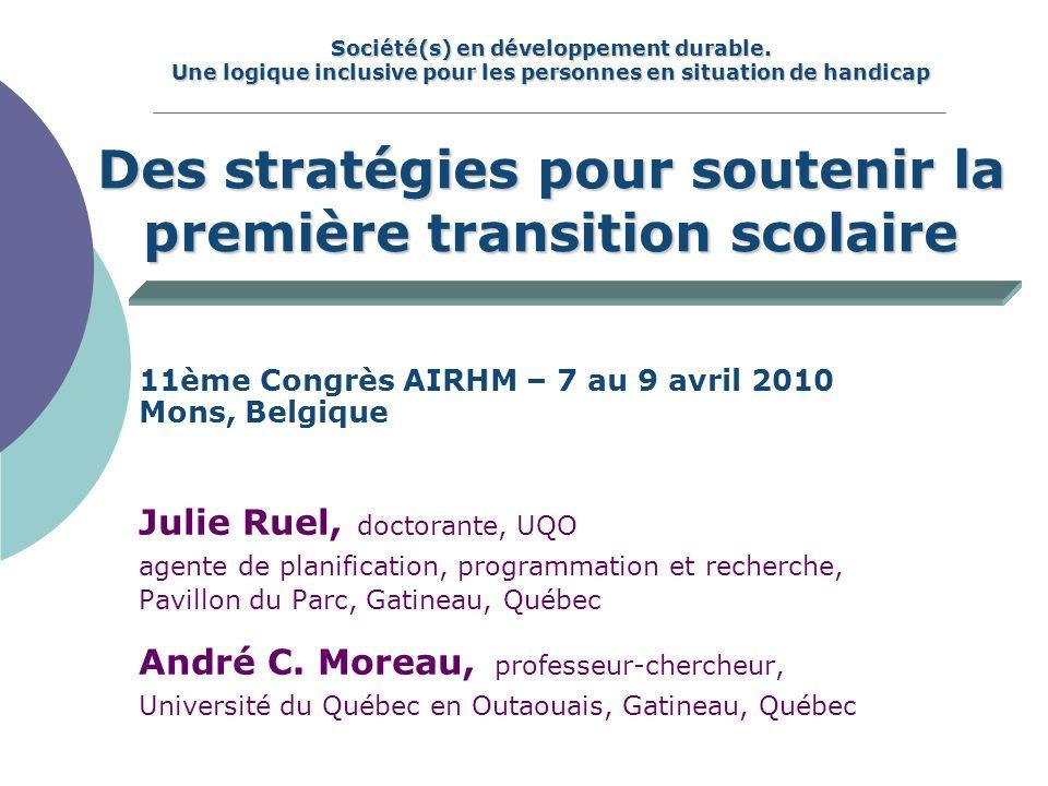 Ruel et Moreau, 20103 Plan de la présentation Contexte de la recherche Description du projet Problématique de la transition vers le préscolaire Méthodologie Bilan Que retenir