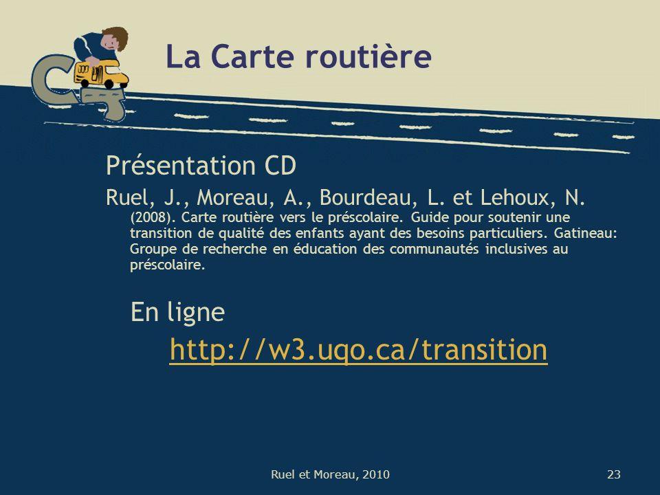 23Ruel et Moreau, 2010 La Carte routière Présentation CD Ruel, J., Moreau, A., Bourdeau, L. et Lehoux, N. (2008). Carte routière vers le préscolaire.