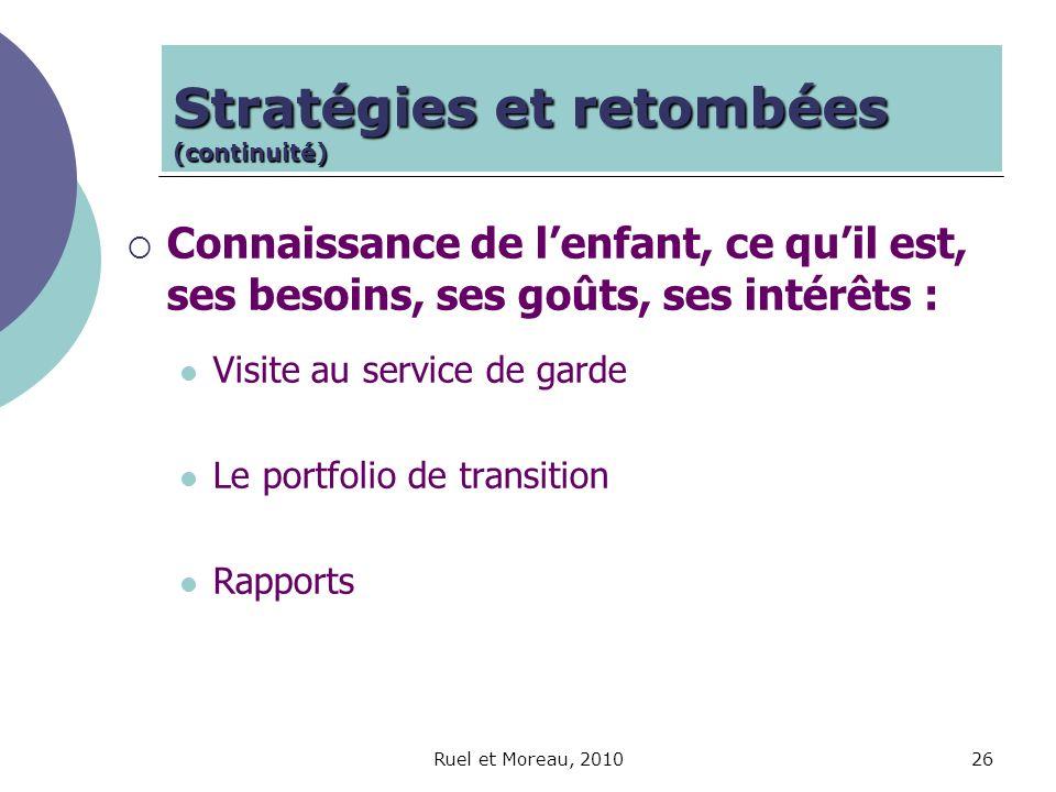 Ruel et Moreau, 201026 Stratégies et retombées (continuité) Connaissance de lenfant, ce quil est, ses besoins, ses goûts, ses intérêts : Visite au ser