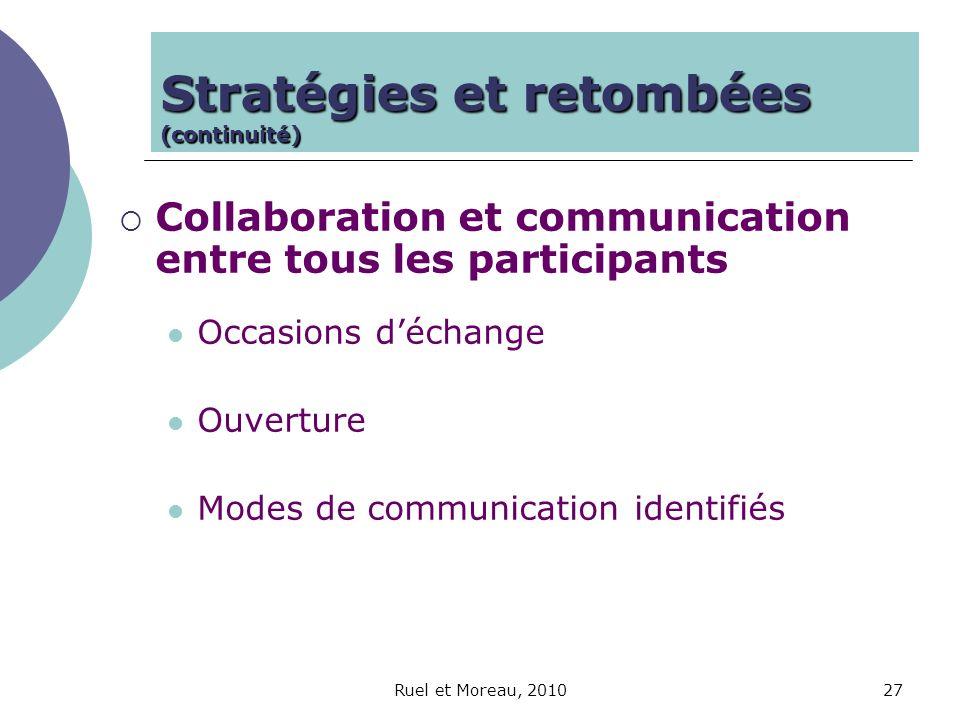 Ruel et Moreau, 201027 Collaboration et communication entre tous les participants Occasions déchange Ouverture Modes de communication identifiés Strat