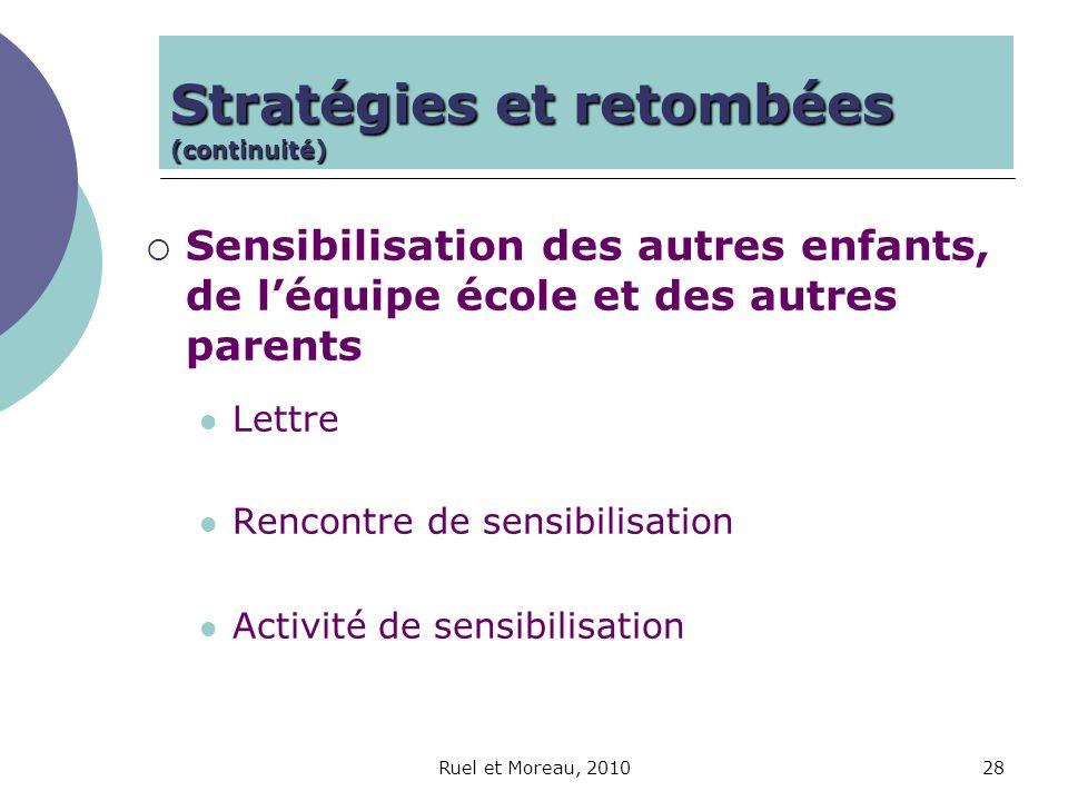 Ruel et Moreau, 201028 Sensibilisation des autres enfants, de léquipe école et des autres parents Lettre Rencontre de sensibilisation Activité de sens