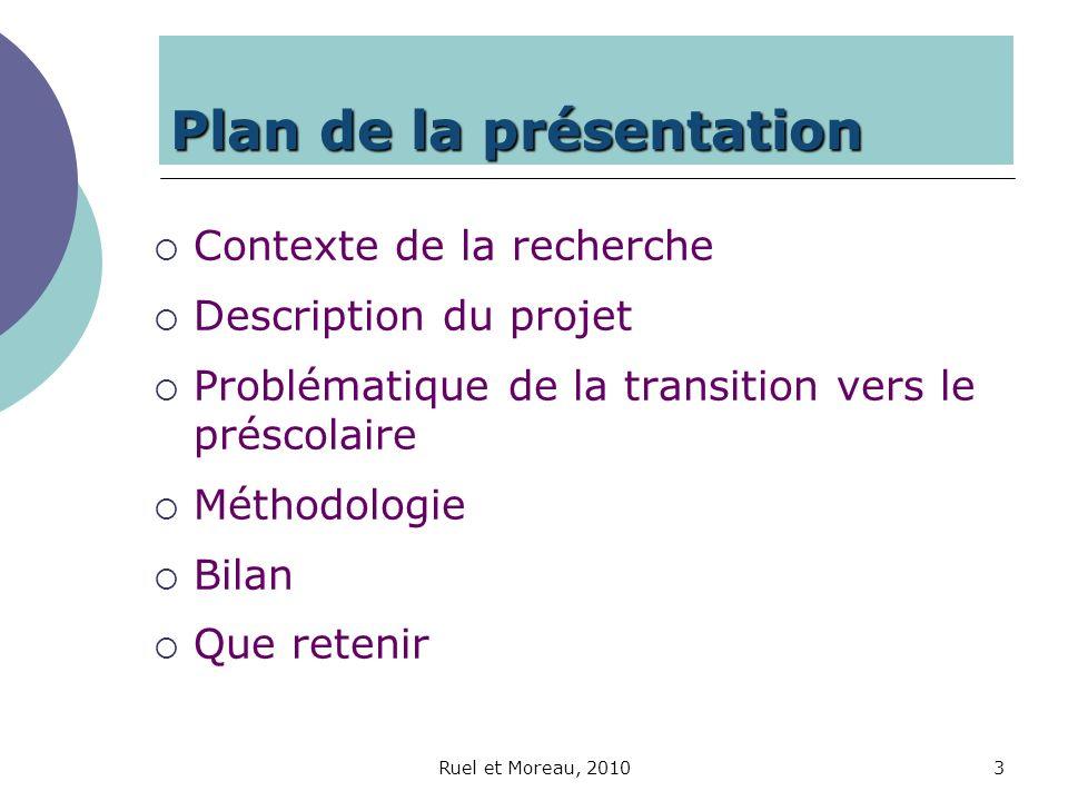 Ruel et Moreau, 20103 Plan de la présentation Contexte de la recherche Description du projet Problématique de la transition vers le préscolaire Méthod