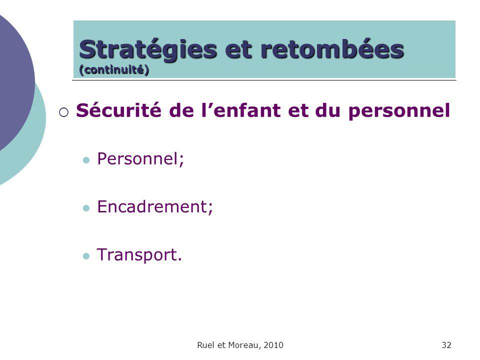 Ruel et Moreau, 201032 Sécurité de lenfant et du personnel Personnel; Encadrement; Transport. Stratégies et retombées (continuité)