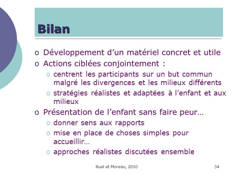 Ruel et Moreau, 201034 Bilan oDéveloppement dun matériel concret et utile oActions ciblées conjointement : ocentrent les participants sur un but commu