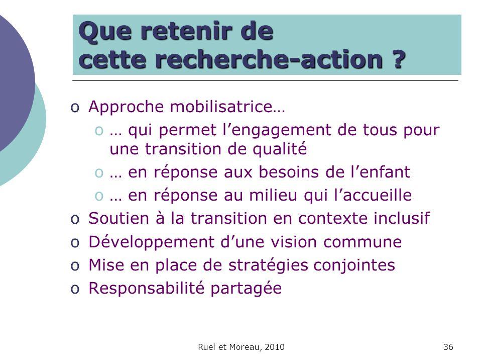 Ruel et Moreau, 201036 Que retenir de cette recherche-action ? oApproche mobilisatrice… o… qui permet lengagement de tous pour une transition de quali