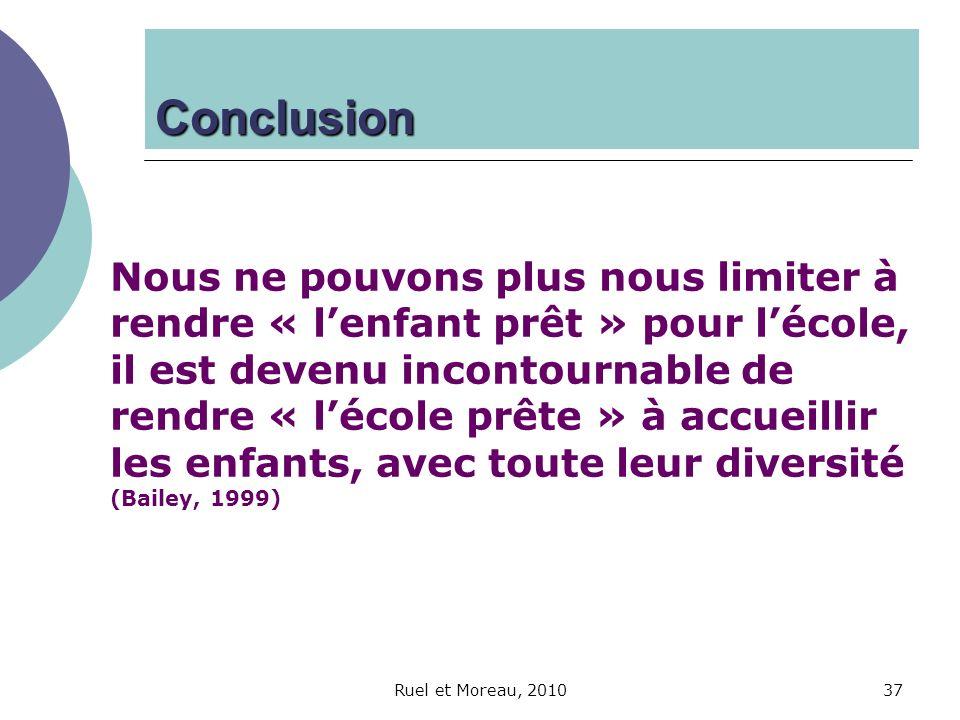 Ruel et Moreau, 201037 Nous ne pouvons plus nous limiter à rendre « lenfant prêt » pour lécole, il est devenu incontournable de rendre « lécole prête