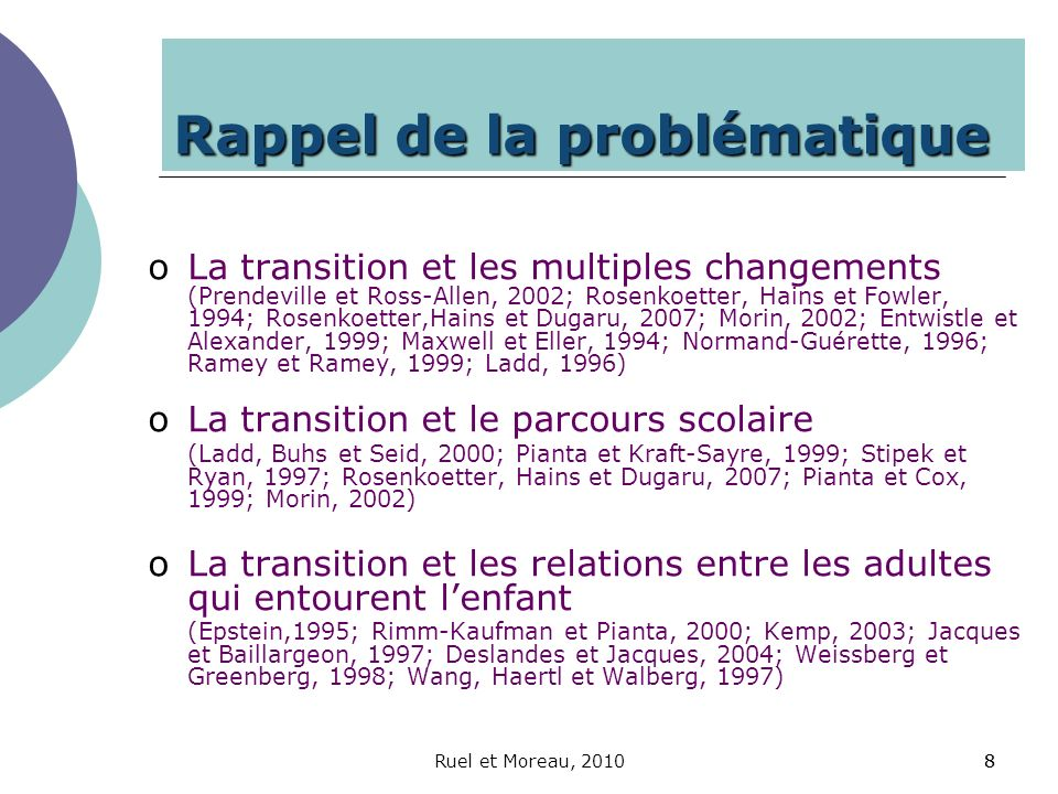 Ruel et Moreau, 201099 Rappel des enjeux oEnjeux liés à lenfant oEnjeux liés aux familles oEnjeux liés au milieu qui accueille oEnjeux intersectoriels et administratifs oEnjeux relationnels (Wolery, 1999; Ruel, 2006, 2009)