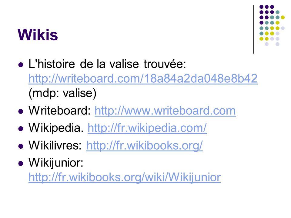 Wikis L'histoire de la valise trouvée: http://writeboard.com/18a84a2da048e8b42 (mdp: valise) http://writeboard.com/18a84a2da048e8b42 Writeboard: http: