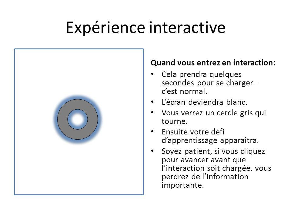 Expérience interactive Quand vous entrez en interaction: Cela prendra quelques secondes pour se charger– cest normal.