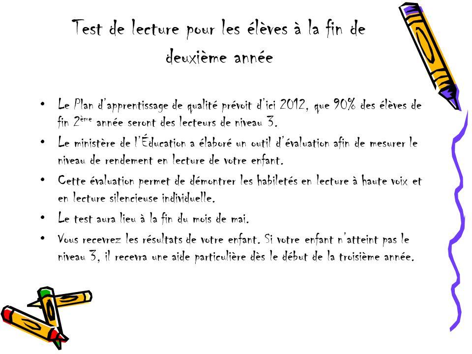 Test de lecture pour les élèves à la fin de deuxième année Le Plan dapprentissage de qualité prévoit dici 2012, que 90% des élèves de fin 2 ème année