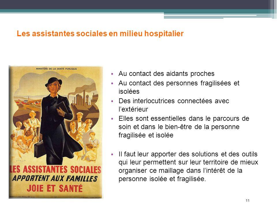 11 Les assistantes sociales en milieu hospitalier Au contact des aidants proches Au contact des personnes fragilisées et isolées Des interlocutrices c