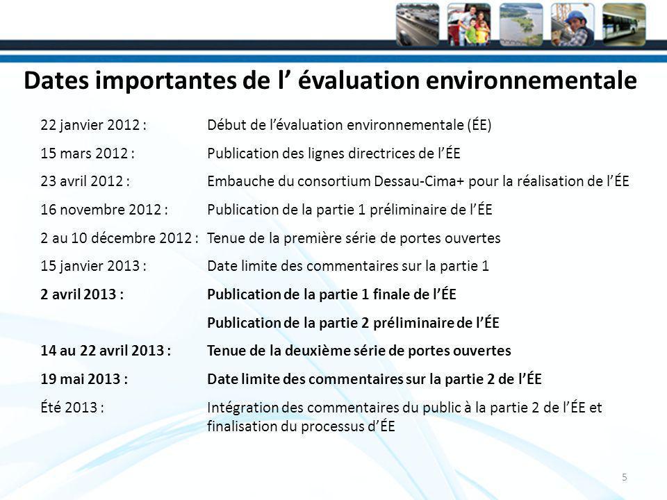 Dates importantes de l évaluation environnementale 22 janvier 2012 : Début de lévaluation environnementale (ÉE) 15 mars 2012 : Publication des lignes directrices de lÉE 23 avril 2012 : Embauche du consortium Dessau-Cima+ pour la réalisation de lÉE 16 novembre 2012 : Publication de la partie 1 préliminaire de lÉE 2 au 10 décembre 2012 : Tenue de la première série de portes ouvertes 15 janvier 2013 : Date limite des commentaires sur la partie 1 2 avril 2013 : Publication de la partie 1 finale de lÉE Publication de la partie 2 préliminaire de lÉE 14 au 22 avril 2013 : Tenue de la deuxième série de portes ouvertes 19 mai 2013 : Date limite des commentaires sur la partie 2 de lÉE Été 2013 : Intégration des commentaires du public à la partie 2 de lÉE et finalisation du processus dÉE 5