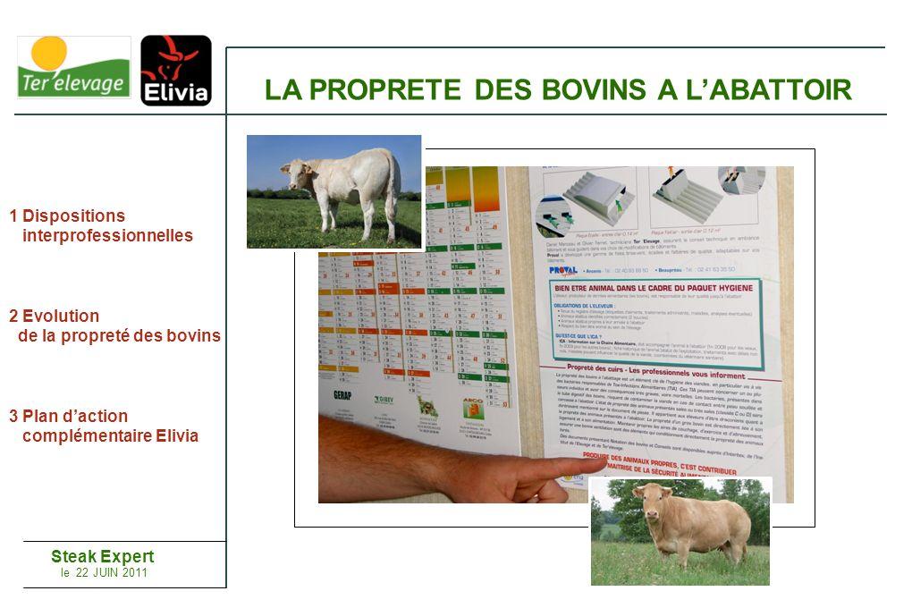 1 Dispositions interprofessionnelles 2 Evolution de la propreté des bovins 3 Plan daction complémentaire Elivia LA PROPRETE DES BOVINS A LABATTOIR Steak Expert le 22 JUIN 2011