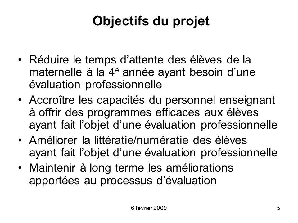 6 février 20095 Objectifs du projet Réduire le temps dattente des élèves de la maternelle à la 4 e année ayant besoin dune évaluation professionnelle