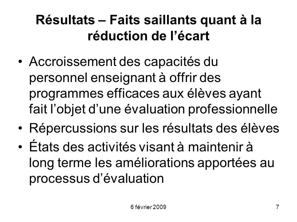 6 février 20097 Résultats – Faits saillants quant à la réduction de lécart Accroissement des capacités du personnel enseignant à offrir des programmes