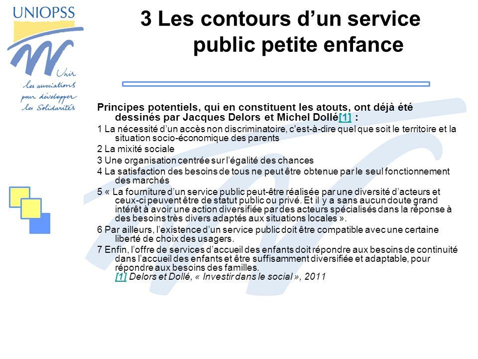 3 Les contours dun service public petite enfance Principes potentiels, qui en constituent les atouts, ont déjà été dessinés par Jacques Delors et Mich