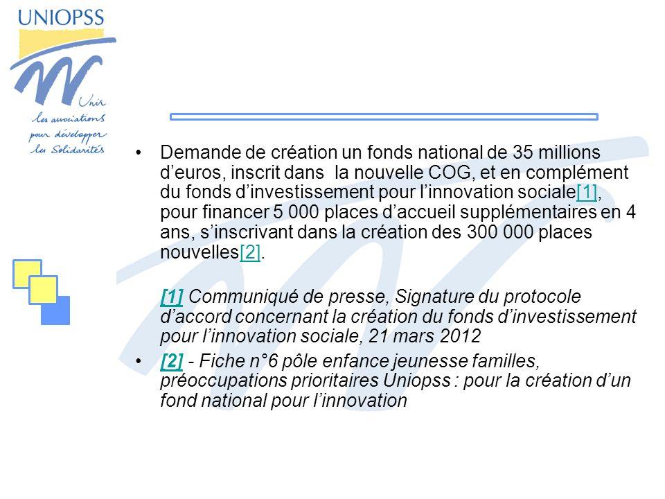 Demande de création un fonds national de 35 millions deuros, inscrit dans la nouvelle COG, et en complément du fonds dinvestissement pour linnovation