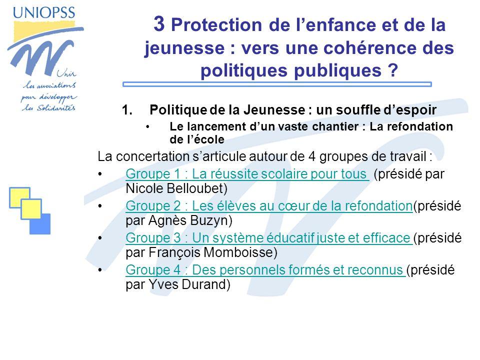 3 Protection de lenfance et de la jeunesse : vers une cohérence des politiques publiques ? 1.Politique de la Jeunesse : un souffle despoir Le lancemen