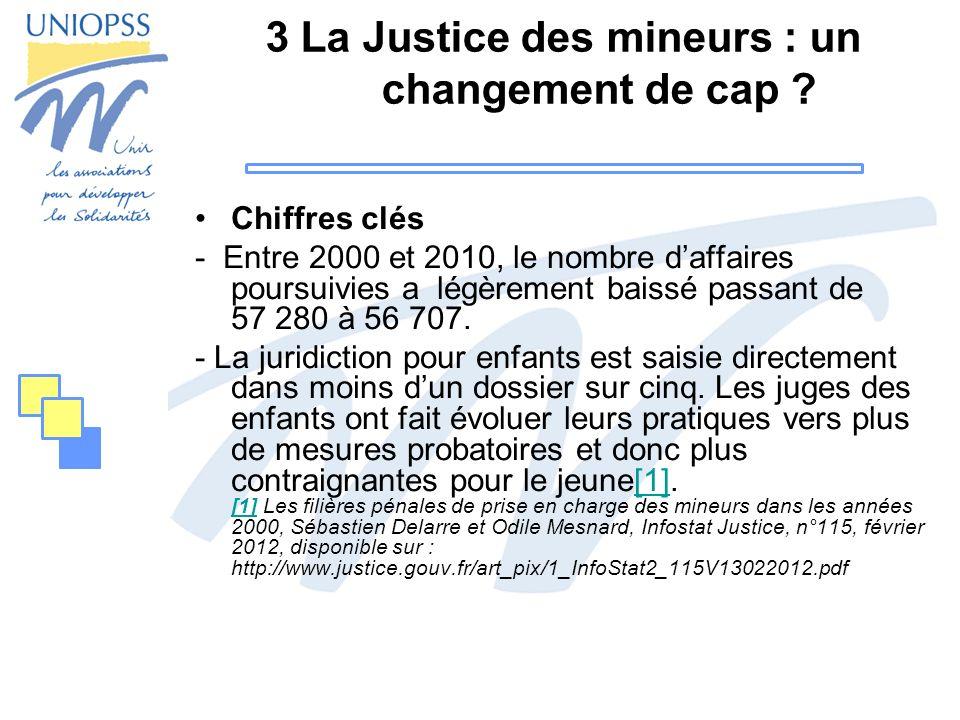 3 La Justice des mineurs : un changement de cap ? Chiffres clés - Entre 2000 et 2010, le nombre daffaires poursuivies a légèrement baissé passant de 5