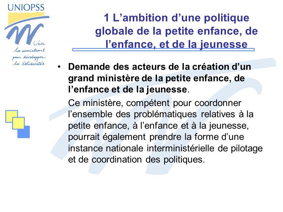 1 Lambition dune politique globale de la petite enfance, de lenfance, et de la jeunesse Demande des acteurs de la création dun grand ministère de la p