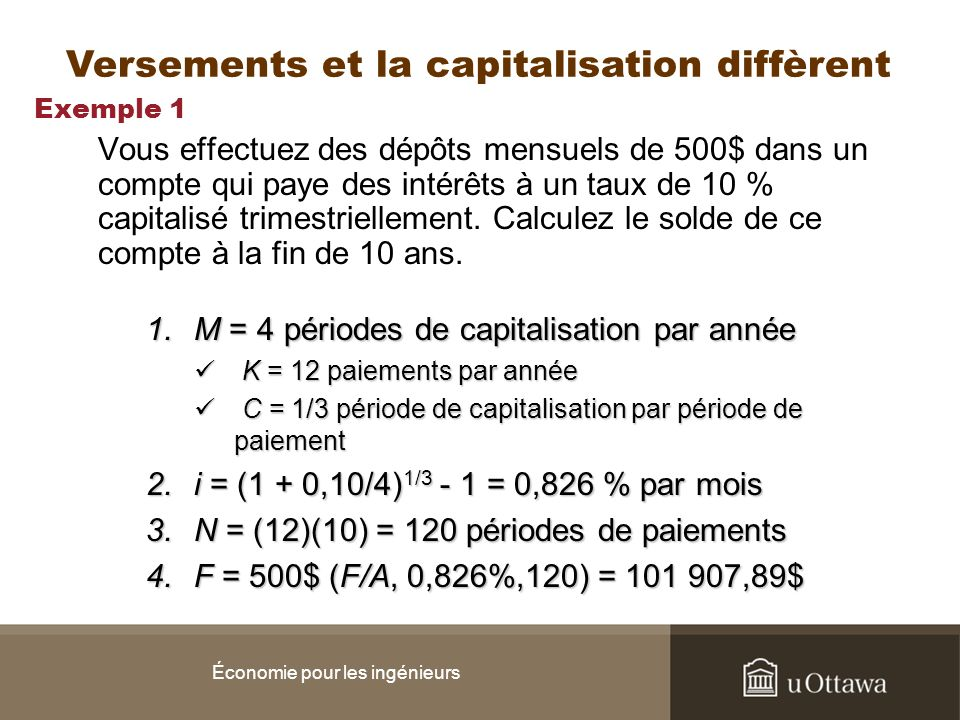 Exemple 1 Vous effectuez des dépôts mensuels de 500$ dans un compte qui paye des intérêts à un taux de 10 % capitalisé trimestriellement. Calculez le