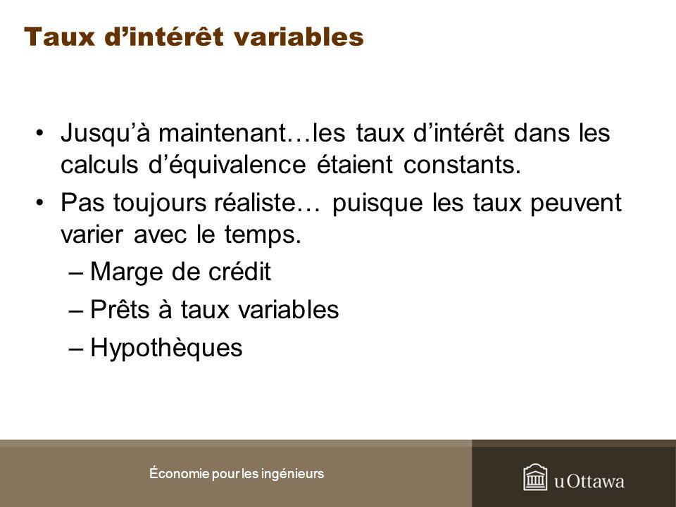 Taux dintérêt variables Jusquà maintenant…les taux dintérêt dans les calculs déquivalence étaient constants. Pas toujours réaliste… puisque les taux p