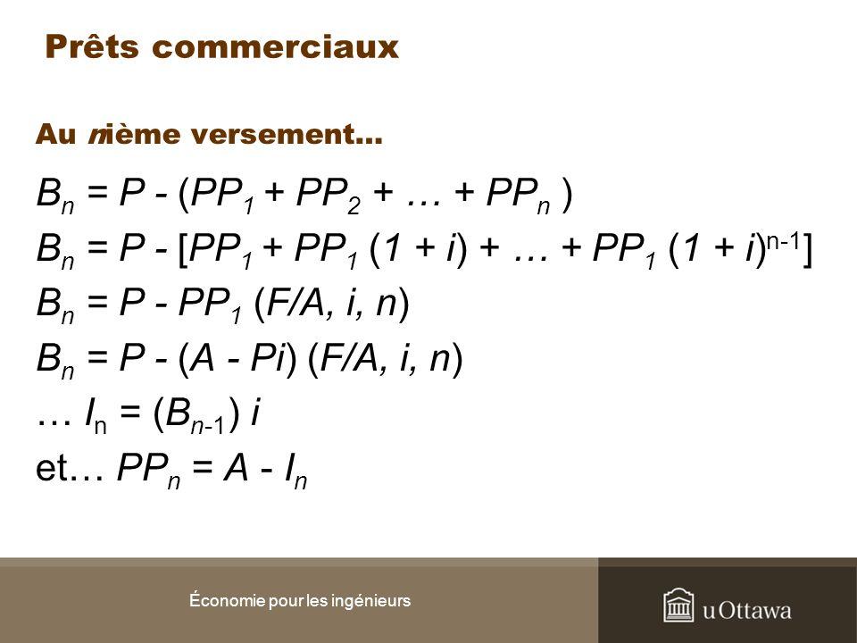 Au nième versement… B n = P - (PP 1 + PP 2 + … + PP n ) B n = P - [PP 1 + PP 1 (1 + i) + … + PP 1 (1 + i) n-1 ] B n = P - PP 1 (F/A, i, n) B n = P - (