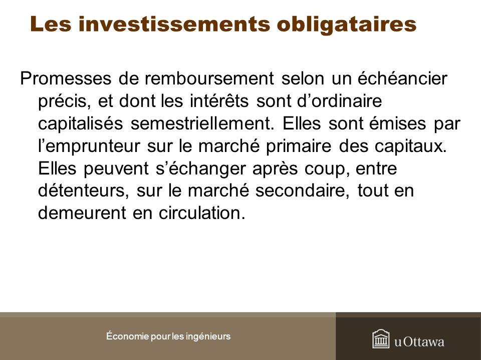 Les investissements obligataires Promesses de remboursement selon un échéancier précis, et dont les intérêts sont dordinaire capitalisés semestriellem