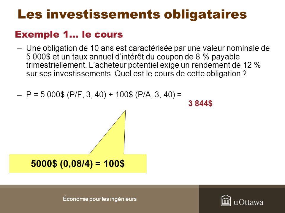 Exemple 1… le cours –Une obligation de 10 ans est caractérisée par une valeur nominale de 5 000$ et un taux annuel dintérêt du coupon de 8 % payable t