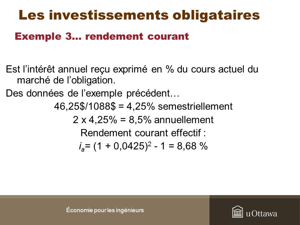 Exemple 3… rendement courant Est lintérêt annuel reçu exprimé en % du cours actuel du marché de lobligation. Des données de lexemple précédent… 46,25$