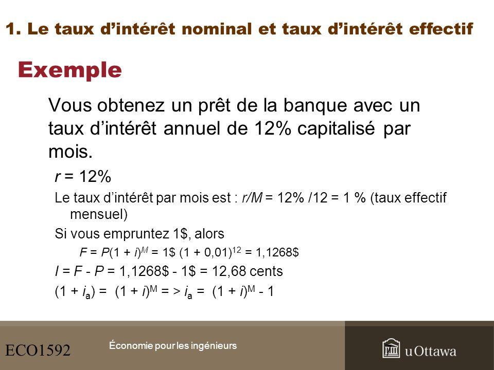 Exemple (suite) On peut exprimer le taux dintérêt effectif annuel (i a ) en terme du pourcentage du principal : i a = (1 + 0,01) 12 - 1 = 0,1268 ou 12,68 % Si le même prêt est capitalisé trimestriellement, alors … i a = (1 + 0,03) 4 - 1 = 0,1255 ou 12,55 % Économie pour les ingénieurs 1.