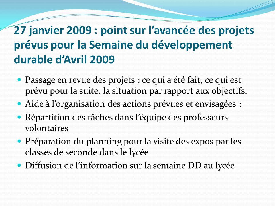 27 janvier 2009 : point sur lavancée des projets prévus pour la Semaine du développement durable dAvril 2009 Passage en revue des projets : ce qui a é