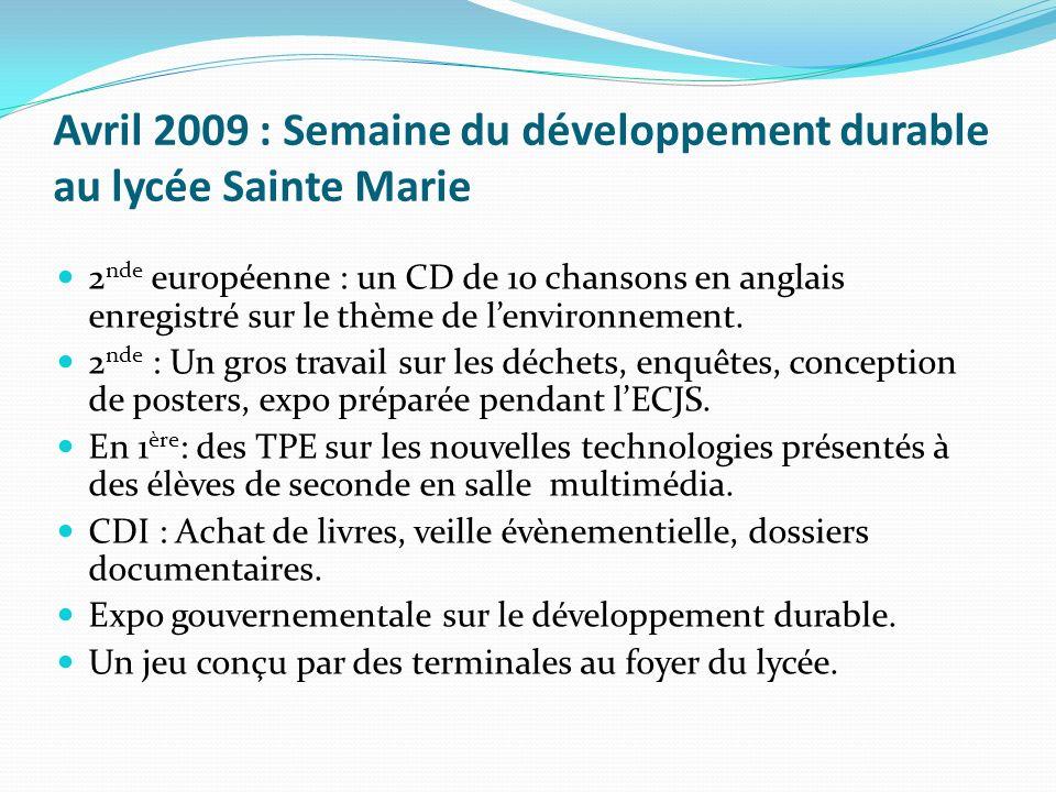 Avril 2009 : Semaine du développement durable au lycée Sainte Marie 2 nde européenne : un CD de 10 chansons en anglais enregistré sur le thème de lenv