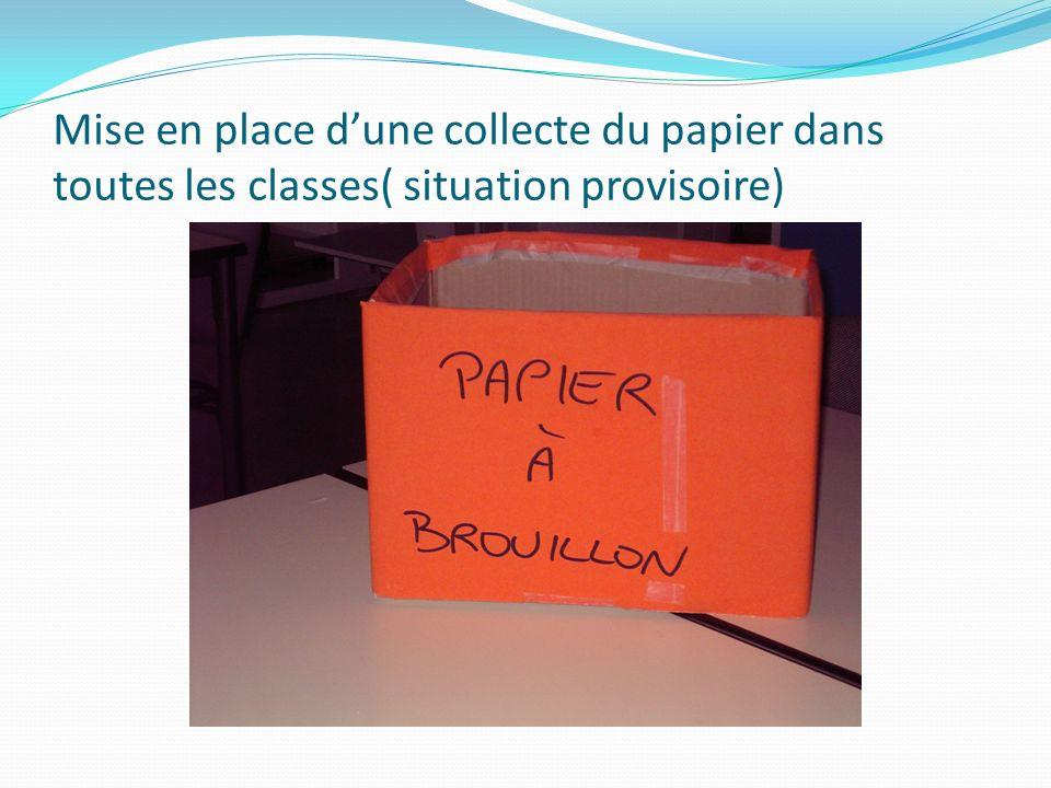 Mise en place dune collecte du papier dans toutes les classes( situation provisoire)