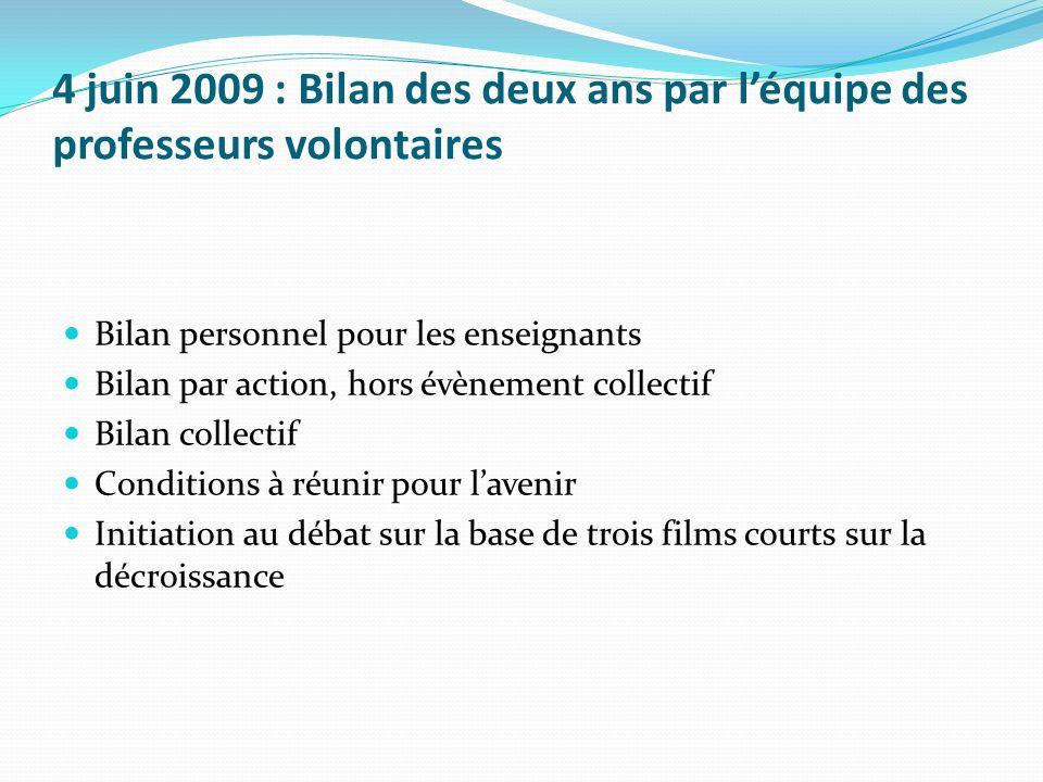 4 juin 2009 : Bilan des deux ans par léquipe des professeurs volontaires Bilan personnel pour les enseignants Bilan par action, hors évènement collect