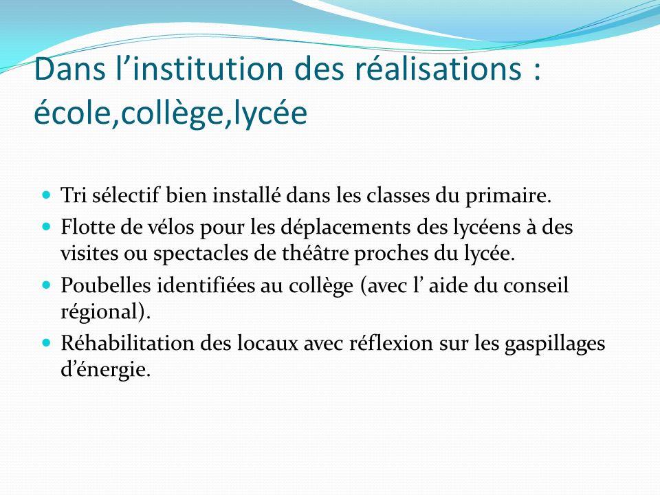 Dans linstitution des réalisations : école,collège,lycée Tri sélectif bien installé dans les classes du primaire. Flotte de vélos pour les déplacement