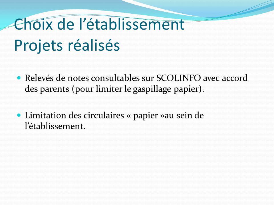 Choix de létablissement Projets réalisés Relevés de notes consultables sur SCOLINFO avec accord des parents (pour limiter le gaspillage papier). Limit