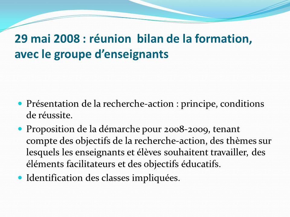 29 mai 2008 : réunion bilan de la formation, avec le groupe denseignants Présentation de la recherche-action : principe, conditions de réussite. Propo