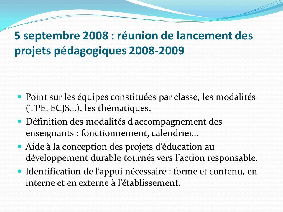 5 septembre 2008 : réunion de lancement des projets pédagogiques 2008-2009 Point sur les équipes constituées par classe, les modalités (TPE, ECJS…), l