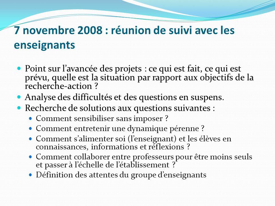7 novembre 2008 : réunion de suivi avec les enseignants Point sur lavancée des projets : ce qui est fait, ce qui est prévu, quelle est la situation pa