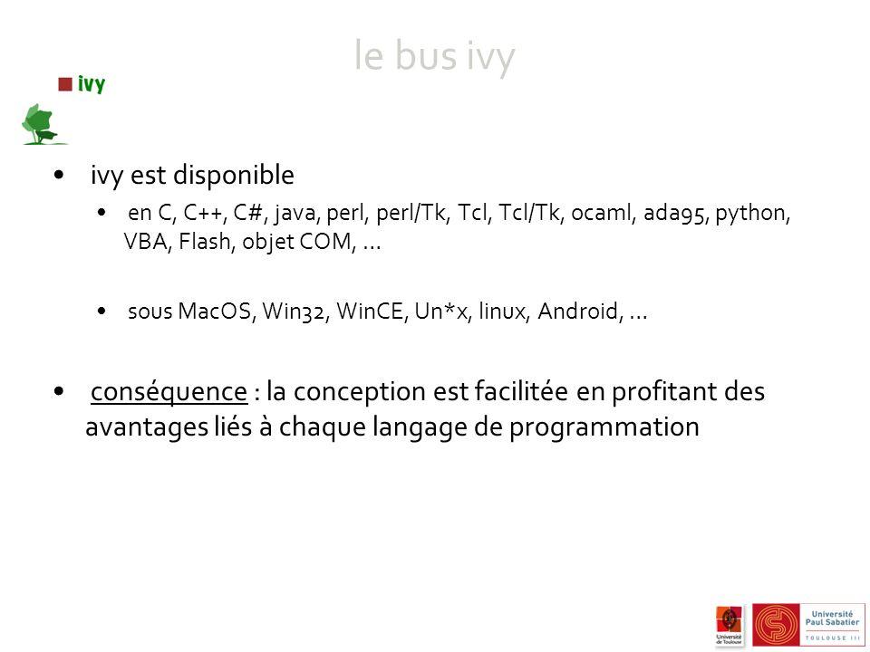 le bus ivy ivy est disponible en C, C++, C#, java, perl, perl/Tk, Tcl, Tcl/Tk, ocaml, ada95, python, VBA, Flash, objet COM, … sous MacOS, Win32, WinCE, Un*x, linux, Android, … conséquence : la conception est facilitée en profitant des avantages liés à chaque langage de programmation