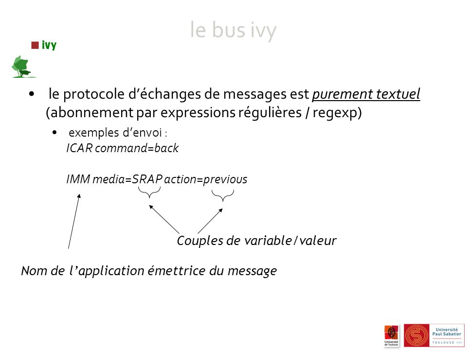 le bus ivy le protocole déchanges de messages est purement textuel (abonnement par expressions régulières / regexp) exemples denvoi : ICAR command=back IMM media=SRAP action=previous Nom de lapplication émettrice du message Couples de variable/valeur