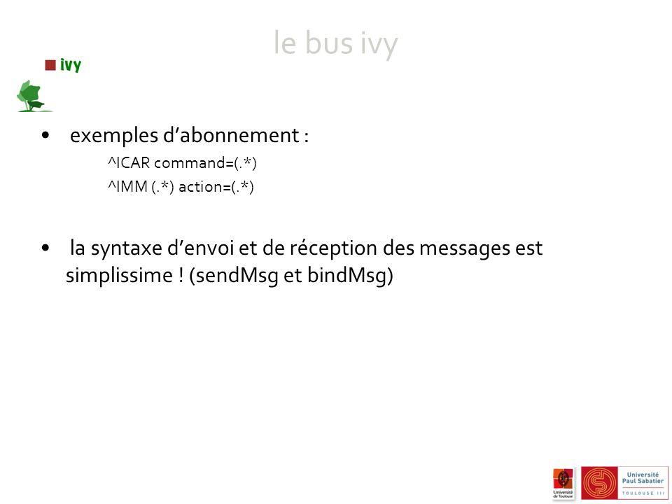 le bus ivy exemples dabonnement : ^ICAR command=(.*) ^IMM (.*) action=(.*) la syntaxe denvoi et de réception des messages est simplissime .