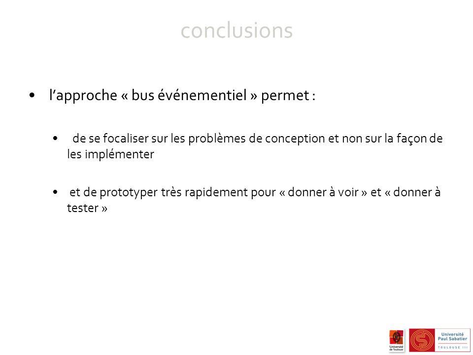 conclusions lapproche « bus événementiel » permet : de se focaliser sur les problèmes de conception et non sur la façon de les implémenter et de prototyper très rapidement pour « donner à voir » et « donner à tester »