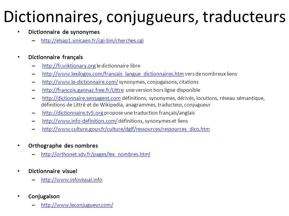 Dictionnaires, conjugueurs, traducteurs Dictionnaire de synonymes – http://elsap1.unicaen.fr/cgi-bin/cherches.cgi http://elsap1.unicaen.fr/cgi-bin/che