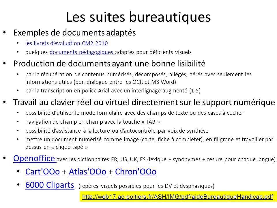 Les suites bureautiques Exemples de documents adaptés les livrets dévaluation CM2 2010 quelques documents pédagogiques adaptés pour déficients visuels