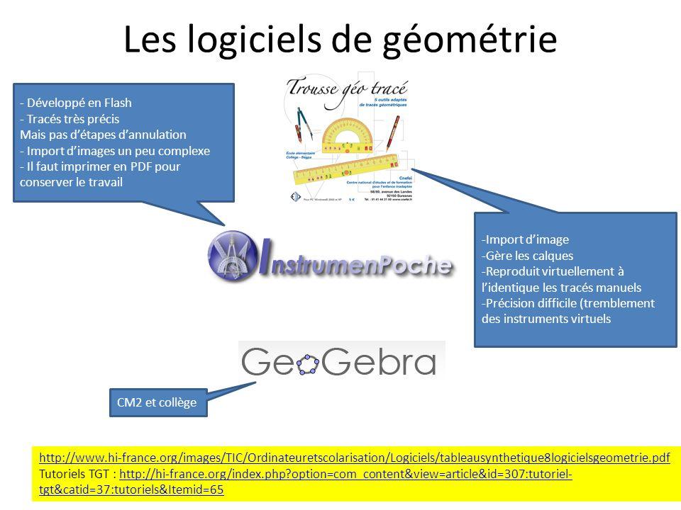 Les logiciels de géométrie http://www.hi-france.org/images/TIC/Ordinateuretscolarisation/Logiciels/tableausynthetique8logicielsgeometrie.pdf Tutoriels