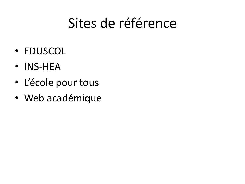 Sites de référence EDUSCOL INS-HEA Lécole pour tous Web académique
