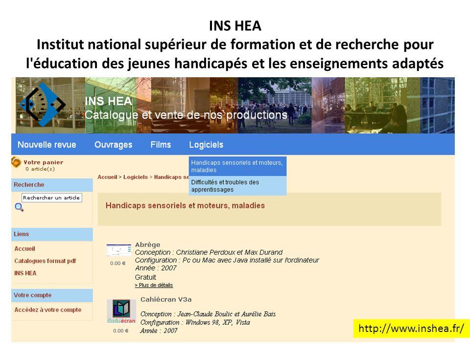 INS HEA Institut national supérieur de formation et de recherche pour l'éducation des jeunes handicapés et les enseignements adaptés http://www.inshea